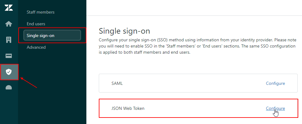 zendesk jwt sso click the security icon