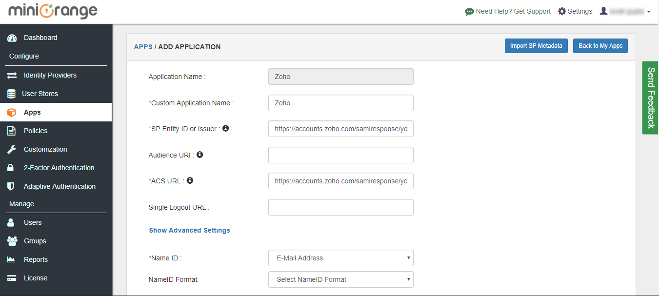Zoho Single Sign On (sso) add additional attributes