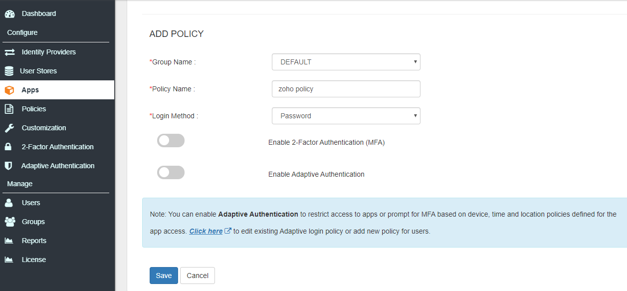Zoho Single Sign On (sso) add policy and save to configure