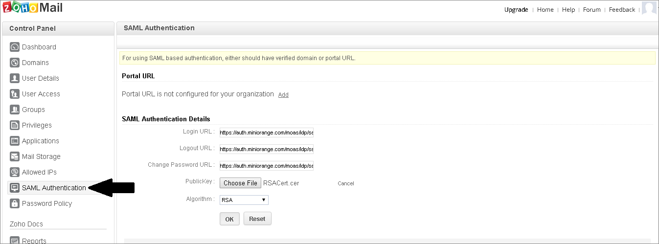 Zoho Single Sign On (sso) saml settings